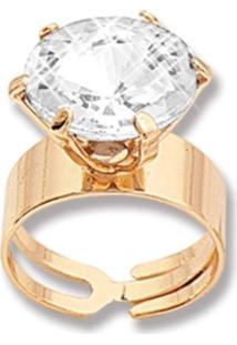 Anel Le Diamond Solitário Com Strass Dourado
