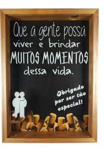 Quadro Art Frame Porta Rolhas De Vinho Que A Gente Possa Brindar 35X25Cm Moldura Em Madeira