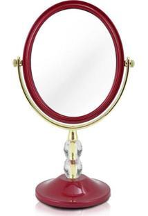 Espelho Jacki Design De Bancada Dupla Face Det De Cristais Vermelho Unico