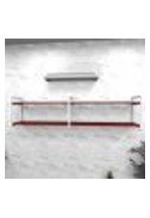 Estante Industrial Escritório Aço Cor Branco 180X30X40Cm Cxlxa Cor Mdf Vermelho Modelo Ind40Vres