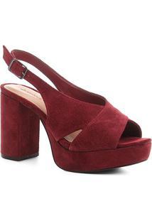 Sandália Shoestock Meia Pata Slingback Camurça Feminina - Feminino-Vinho