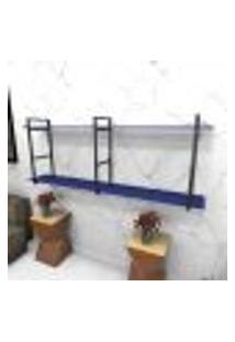 Estante Estilo Industrial Sala Aço Cor Preto 180X30X68Cm (C)X(L)X(A) Cor Mdf Azul Modelo Ind37Azsl