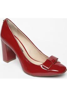 Sapato Em Couro Com Laço- Vermelha- Salto: 8,5Cmjorge Bischoff