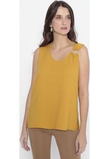 Blusa Com Aviamento & Fendas - Amarelo Escuro - Woolwool Line