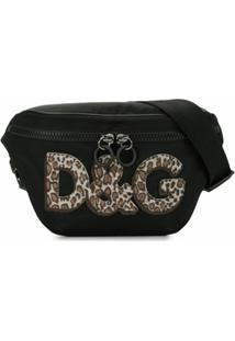 Dolce & Gabbana Pochete Animal Print Com Logo - Preto