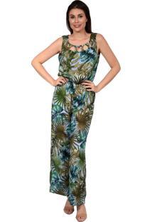 66ee029792 Macacão Pirony Cavado Tiras No Decote Estampa Floral Verde/Azul Fundo Azul  Ref. 116716-2