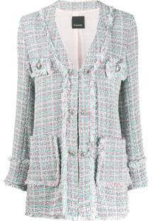 Pinko Blazer De Tweed Com Abotoamento - Azul