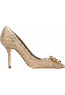 Dolce & Gabbana Sapato De Couro Com Renda - Neutro