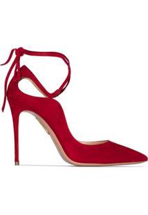 Aquazzura Sapato Aria De Camurça Com Salto 105Mm - Vermelho