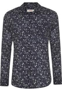 Camisa Masculina Rose Garden - Preto
