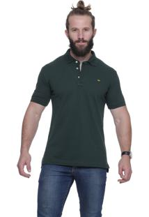 Polo Alfaiataria Burguesia Verde Com Pé De Gola Slim Fit Stil