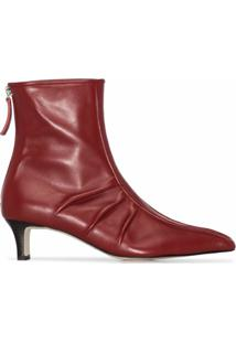 Salondeju Ankle Boot Bico Fino - Vermelho