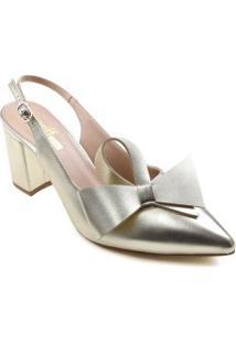 Sapato Zariff Slingback Metalizado Laço