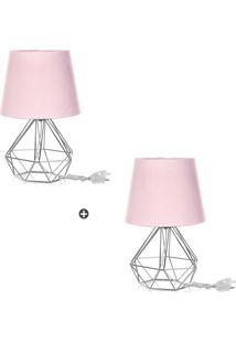 Kit 2 Abajur Diamante Dome Rosa Com Aramado Cromado