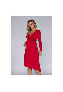 Vestido Megadose Moda Gestante Midi Amamentação Barra Assimétrica Vermelho