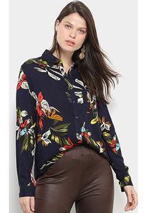 Camisa Facinelli Floral Botões Feminina - Feminino-Marinho