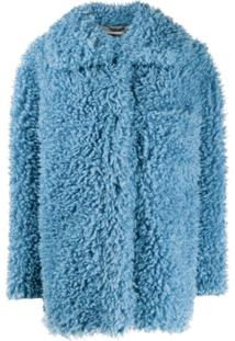 Stella Mccartney Casaco Oversized Com Abertura Frontal E Textura - Azul