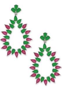 Brinco Gota Cravejado Com Zircônias - Feminino-Pink+Verde