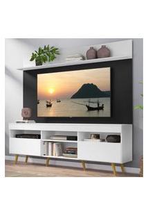 """Rack Com Painel Tv 65"""" Madri Multimóveis Branco/Preto Com Prateleira E Pés Retrô Natural"""
