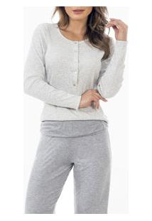 Pijama Longo Mescla Com Peitilho Laibel (15.011550) Mescla