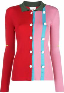 I-Am-Chen Cardigan Color Block Com Botões - Rosa