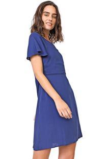 Vestido Enfim Curto Textura Azul-Marinho
