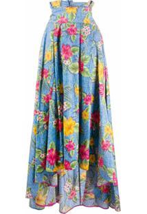 Ultràchic Saia Longa Com Estampa Floral - Azul