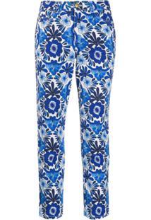 Escada Calça Jeans Cropped Floral - Azul
