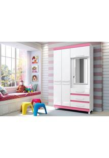 Guarda-Roupa 4 Portas 3 Gavetas Fusion Com Espelho Branco/Rosa - Móveis Albatroz