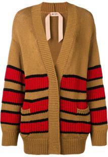 Nº21 Cardigan Oversized Com Listras - Marrom