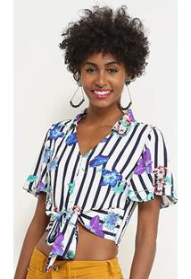 Blusa Lily Fashion Listrada Floral Feminina - Feminino-Azul