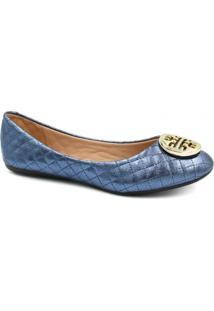 Sapatilha Zariff Shoes Metelassê Metal Feminina - Feminino-Azul