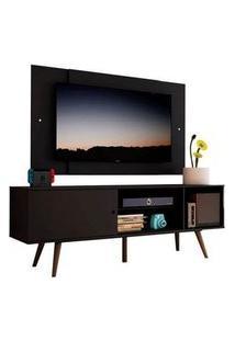 Rack Madesa Cairo E Painel Para Tv Até 58 Polegadas Com Pés De Madeira - Preto/Rustic 8Nd8 Cor:Preto/Rustic