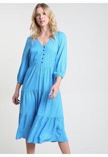 Vestido Feminino Bbb Midi Estampado De Poá Manga Longa Azul