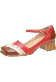 Sapato Retrô Bico Quadrado Dhl Feminino Vermelho, Bege E Marrom - Kanui