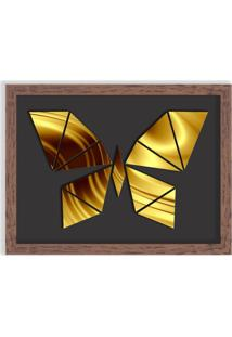Quadro Decorativo Em Relevo Espelhado Borboleta Dourada Madeira - Grande