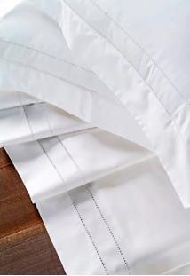 Jogo De Lençol Percal 3 Pçs 400 Fios Ponto Palito Cama Casal Padrão Branco Cotex