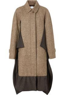 Burberry Casaco De Tweed Com Detalhe De Echarpe - Marrom