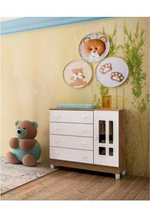 Cômoda Infantil 1 Porta 4 Gavetas Ariel Carolina Baby Amadeirado Rústico