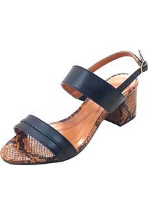 Sandália Mais Sapato Salto Grosso Preto