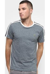 Camiseta T-Shirt Lacoste Listras Masculina - Masculino-Cinza