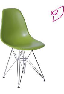 Jogo De Cadeiras Eames Dkr- Verde & Prateado- 2Pã§S