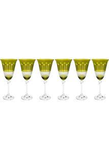 Jogo 6 Taças De Cristal Bohemia Safira Alexandra/Asio Verde 350Ml