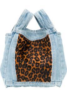 Simonetta Ravizza Bolsa Tote Jeans Com Animal Print - Azul