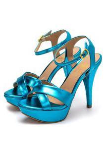 Sandália Feminina Tamanco Plataforma Salto Alto Fino Em Azul Serenity Metalizado