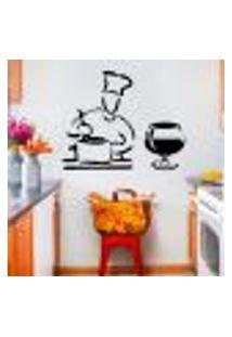 Adesivo De Parede Para Cozinha Modelo Cozinheiro - Pequeno