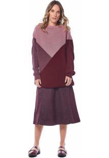 Blusa Maria Valentina Decote Redondo Manga Longa Bicolor Vinho