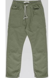 Calça Color Infantil Jogger Com Cordão Verde Militar