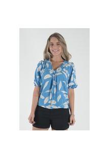 Blusa Mamorena Amarração No Decote Multicolorido