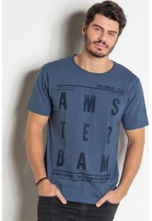 Camiseta Azul Com Estampa Frontal Amsterdam